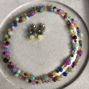 Jewelry - Multi color glass bead necklace and earrings